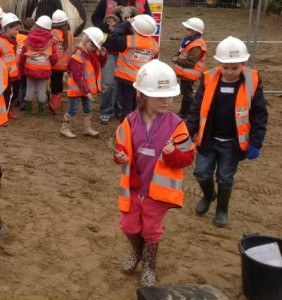 School children getting hands on learning about archaeology at Ricroft Nurseries